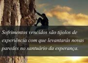 Sofrimentos vencidos são tijolos de experiência com que levantarás novas paredes no santuário da esperança